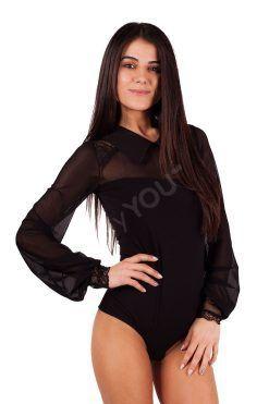 Елегантно боди тип официална блуза, елегантни бодита блуза тюл