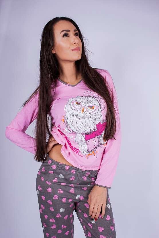 Памучна пижама дълъг ръкав и дълъг крачол, зимни дамски пижами
