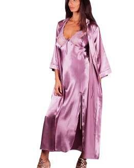 Луксозен комплект дълга сатенена нощница с халат, нощница с халат