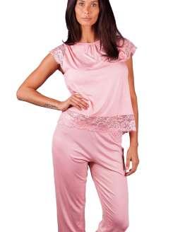 Дамска пижама тениска и панталон 7/8 дължина, памучни пижами