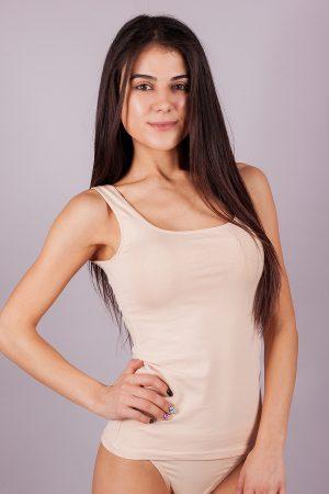Памучни дамски потници изчистен модел широка презрамка български