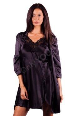 Луксозен комплект сатенена нощница с халат, нощница с халат цени
