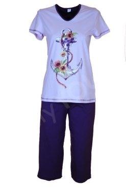 Памучна пижама Златев тениска и 7/8 панталон котва
