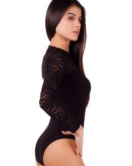Елегантно дамско боди с дантела и дълъг ръкав