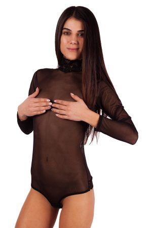 Дамско боди тип бразилиана, тюлени дамски бодита дълъг ръкав