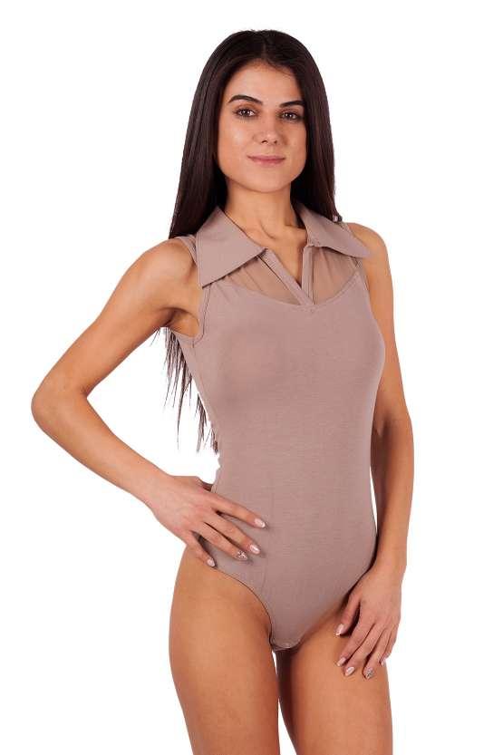 Дамско боди тип елегантна риза без ръкави модел прашка