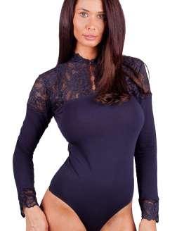 Луксозно боди блуза с дантела, дамско боди блуза дълъг ръкав