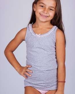 Цветен детски памучен комплект потник и бикини, детско бельо цени