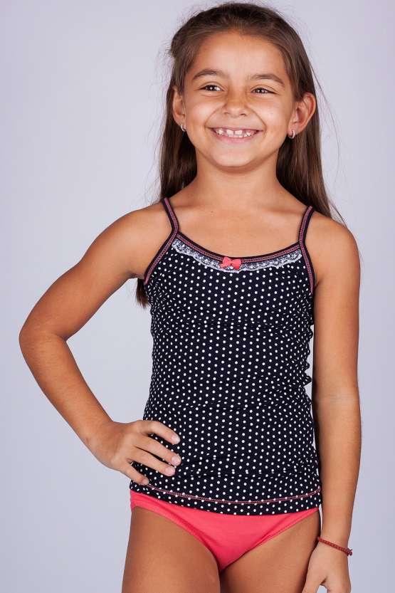 Цветни детски памучни комплект потник и бикини, детско бельо цени