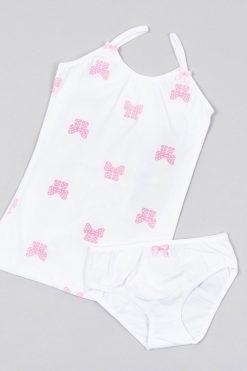 Детски памучен комплект за момиче панделки бяло