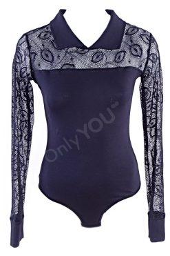 Луксозно боди блуза с ръкави от дантела
