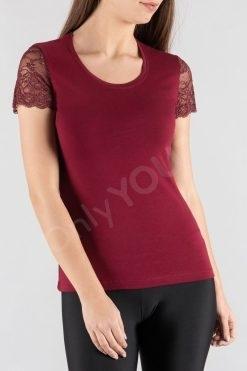 Блуза с къс дантелен ръкав