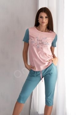 Памучна пижама тениска и 7/8 панталон Pink