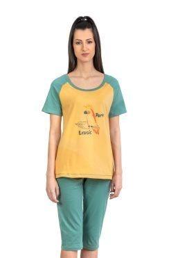 Памучна пижама тениска и 7/8 панталон Mustard