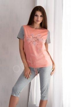 Памучна пижама тениска и 7/8 панталон Shine