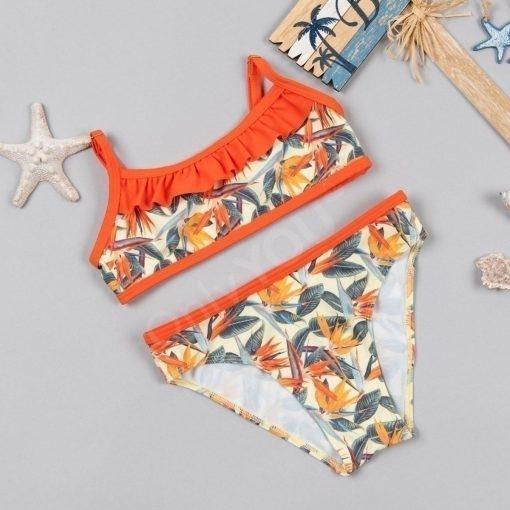 Детски бански с бюстие Orange flowers