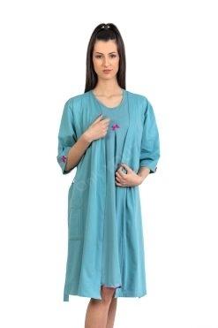 Памучен домашен халат цвят аквамарин, български памучен халат