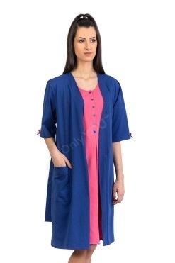 Памучен домашен халат цвят индиго, български памучен халат