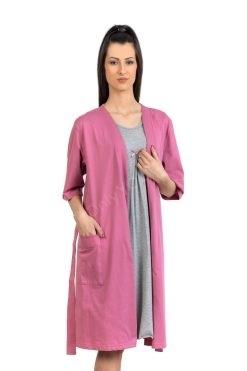 Памучен домашен халат цвят пепел от рози, български памучен халат