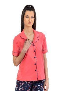 Пижама с ревер и копчета къс ръкав дълъг панталон Flamingo