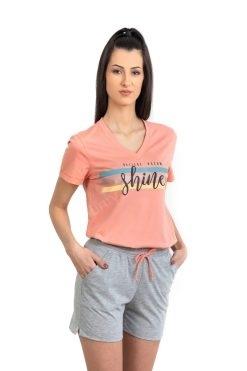 Памучна пижама тениска и къс панталон Shine, български пижами