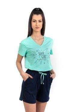 Памучна пижама тениска и къс панталон Star Mint, български пижами