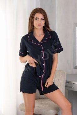 Пижама с яка и копчета къс ръкав къс панталон Blue
