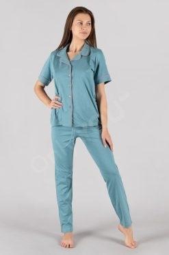 Пижама с ревер и копчета къс ръкав дълъг панталон Stone