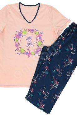 Памучна пижама Златев тениска и 7/8 панталон Flowers