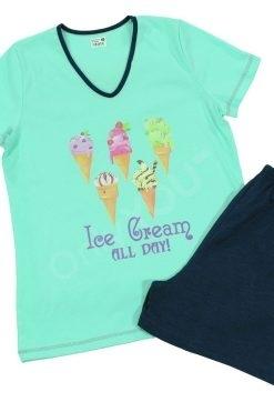 Памучна пижама Златев тениска и къс панталон мента Icecream