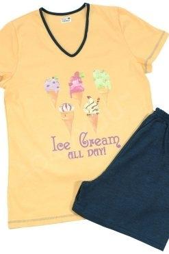 Памучна пижама Златев тениска и къс панталон пудра Icecream