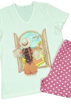 Памучна пижама Златев тениска и къс панталон Window