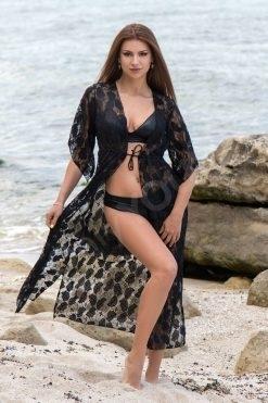 Дълга плажна туника Black