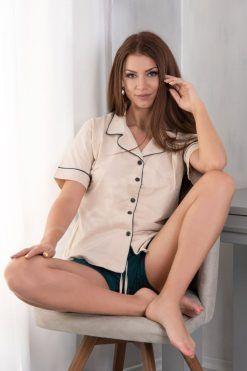 Пижама с яка и копчета къс ръкав къс панталон Vanila